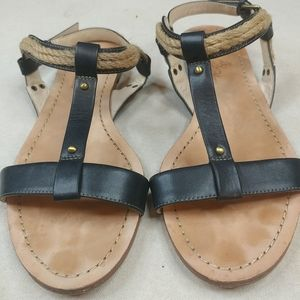 WOMEN'S BROOKS BROTHERS Black LEATHER ROPE TRIM AN